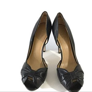 NINE WEST Black Peep Toe Heels - Sz 8.5